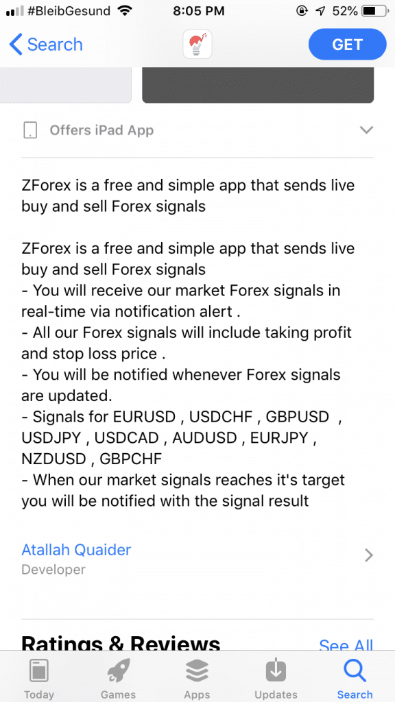 ZForex Signals, description of the app on the App Store.